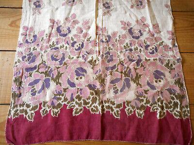 Antique Mum Floral Light Lawn Sheer Voile Cotton Fabric~Coral Apricot Sage ~1900