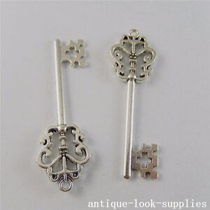 Vintage-Silver-Alloy-Antique-Retro-Key-Pendants-Charms-Jewelry-Craft-10pcs-50724