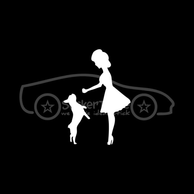 CUTE GIRL WITH FRENCH BULLDOG Sticker Vinyl Decal Sexy Chick Puppy Toy Bull Dog