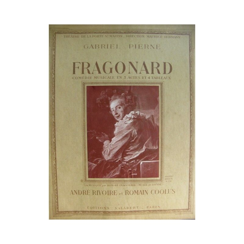 PIERNÉ Gabriel Fragonard Comédie Musicale Chant Piano 1934 partition sheet music