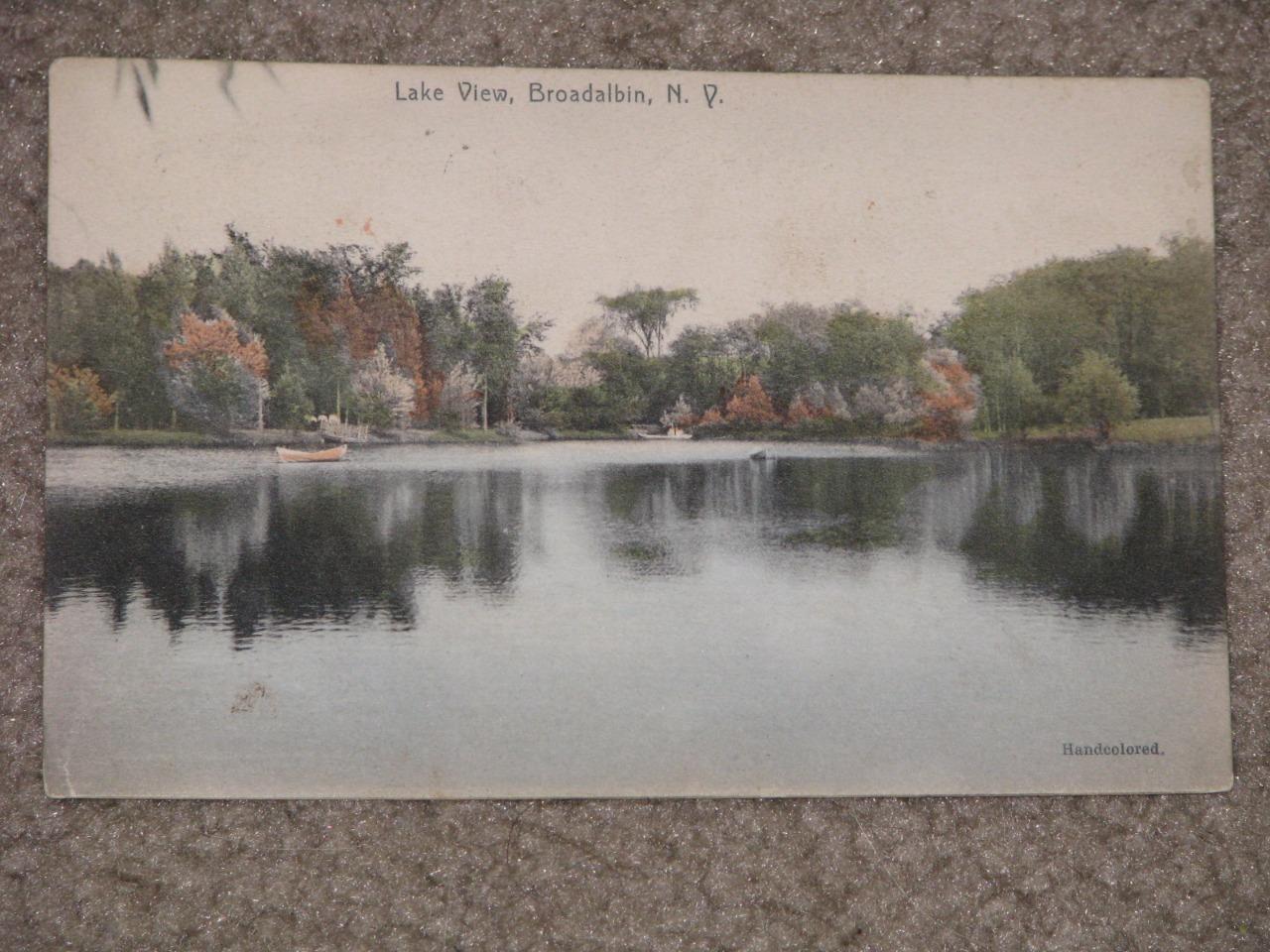 Lake View, Broadalbin, N.Y. Handcolored, 1917, used vintage card