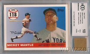 2006 Topps Home Run #118 Mickey Mantle w/WORN PANTS BECKETT 10 MINT GGUM