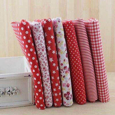 "7 Assorted Precut Cotton Fabric Quilt Fat Quarter Bundles 19.7""x19.7"" Red Series"