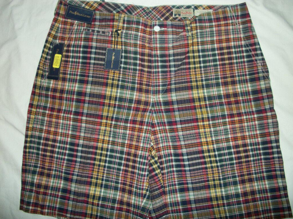 NWT  Polo Ralph Lauren Indian Bold Madras Plaid Shorts