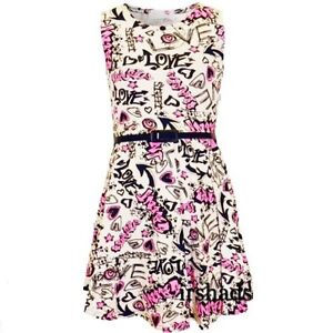 Girls Kids Pink Graffiti Skater Skirt Party Dress Comic Age 7 8 9 10 11 12 13