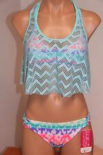 NWT Hula Honey Swimsuit Bikini 2 piece set Sz XS S 2 in 1 crochet Multi