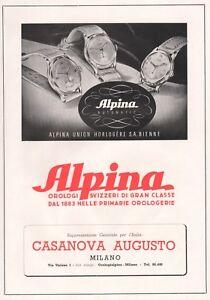 PUBBLICITA' 1949 ALPINA AUTOMATIC OROLOGI SVIZZERI LUSSO CLASSE MODELLI