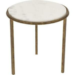 Classic-Minimalist-Hammered-Gold-Metal-White-Marble-Accent-Table-Round-Side