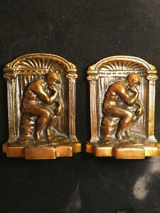 Vintage-Bronze-Bookends-Cast-Iron-The-Thinker-5-25-034-x4-034-x2-Antique-Bookends