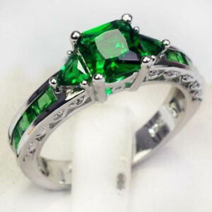 Women-039-S-925-SILVER-Green-Zircon-Emerald-Platinum-Plated-Rings-Gift-Jewelry-newly