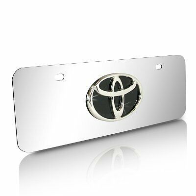 Toyota Black Infill Logo Half-size Chrome Steel License Plate