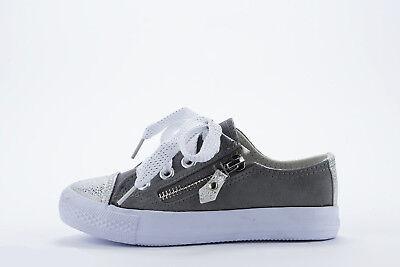 Niñas Lona Terciopelo Zapatillas Con Cordones Tallas 9 a 12