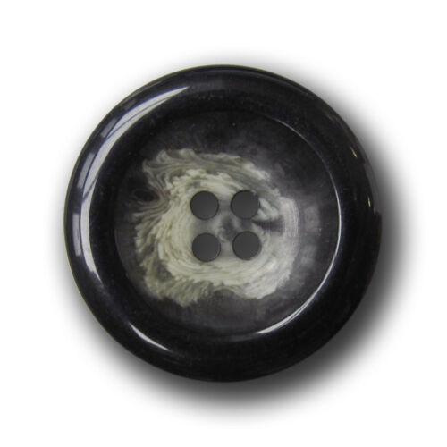 5 große schwarz beige melierte Vierloch Kunststoff Mantel Knöpfe e208sb-28mm