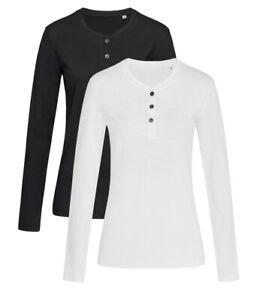 Femmes-Noir-Blanc-Manches-Longues-Grand-Pere-Henley-Boutonne-T-Shirt