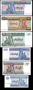 BURMA-MYANMAR-SET-6-PCS-1-5-10-20-50-100-KYATS-P-69-70-71-72-73-74-UNC