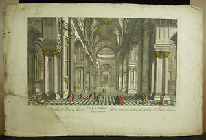 Print-Original-18th-Cathedral-st-Pauls-Of-London-Eglise-Anglican-c1770