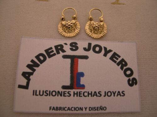 Arracadas jerezanas #1 Vista sencilla Gold 18Kt fait main de Jerez Zacatecas