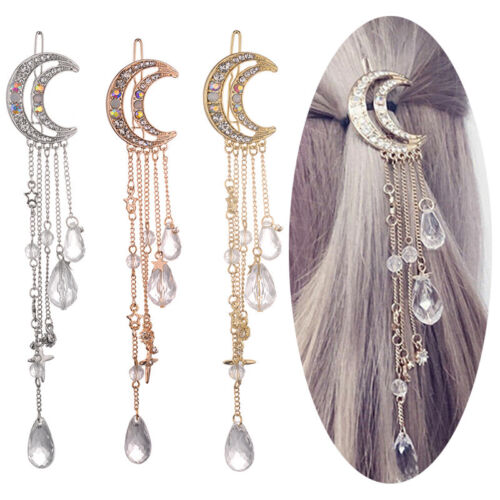 Moon Crystal Rhinestone Beads Dangle Hairpin Hair Clip Women Bridal Jewelery X