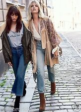 NEW  Free People NR tan suede gray blue floral print open Kimono Jacket Coat L