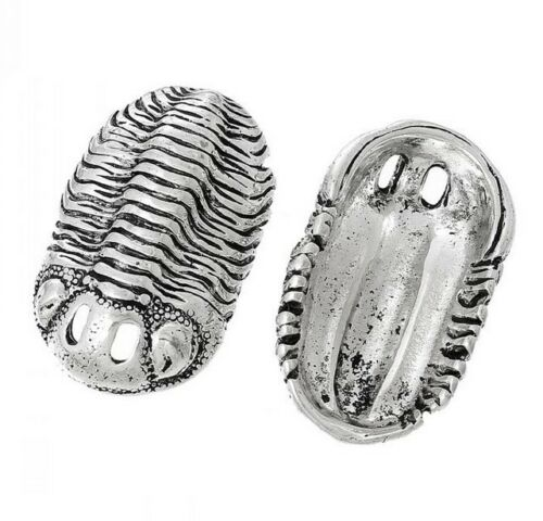 pendentif paleo neuf en metal couleur argent en forme de trilobite type phacops
