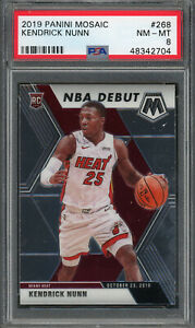 Kendrick Nunn Miami Heat 2019 Panini Mosiac Basketball Card RC #268 PSA 8