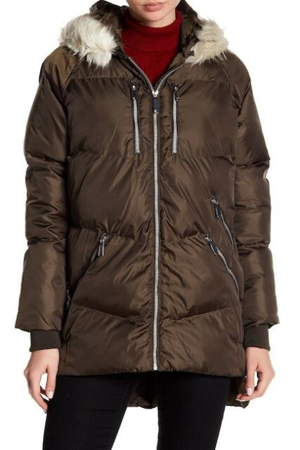 Sam Edelman Womens Faux Fur Trim Hooded Puffer Jacket Size Small New 220 Green For Sale Online