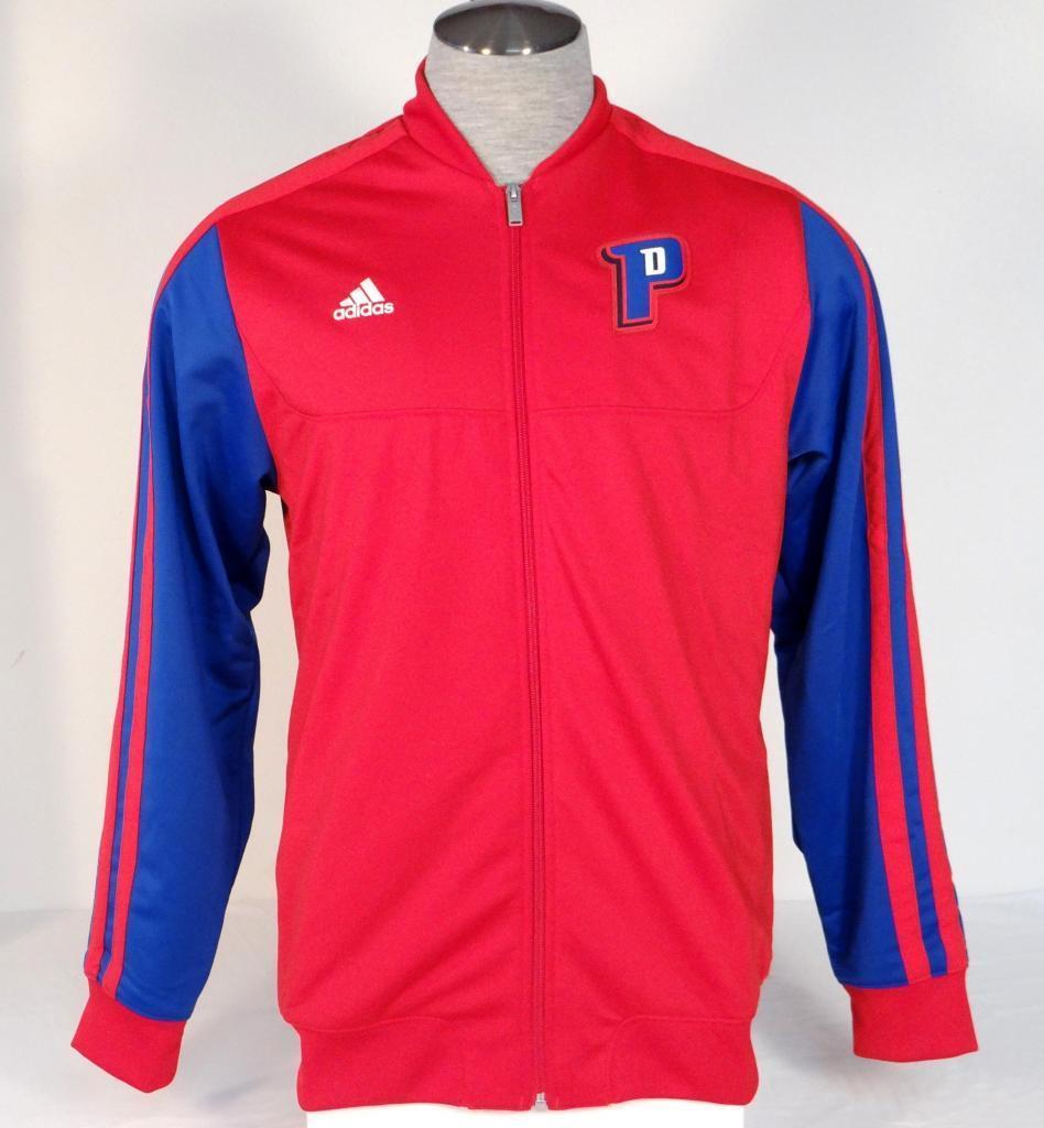 Adidas Performance Red Detroit Pistons NBA-Jacke mit Reißverschluss vorne Herren NWT