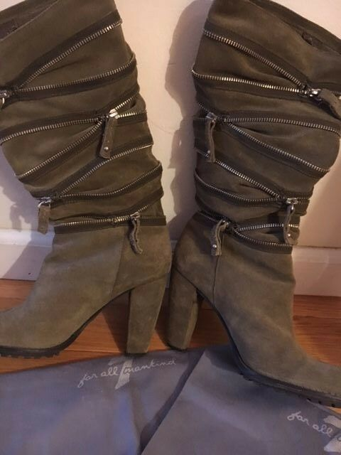 Rare 7 4 Mankind Slouchy Zip Detail Block Heel Boots Size 8.5, Retail  470