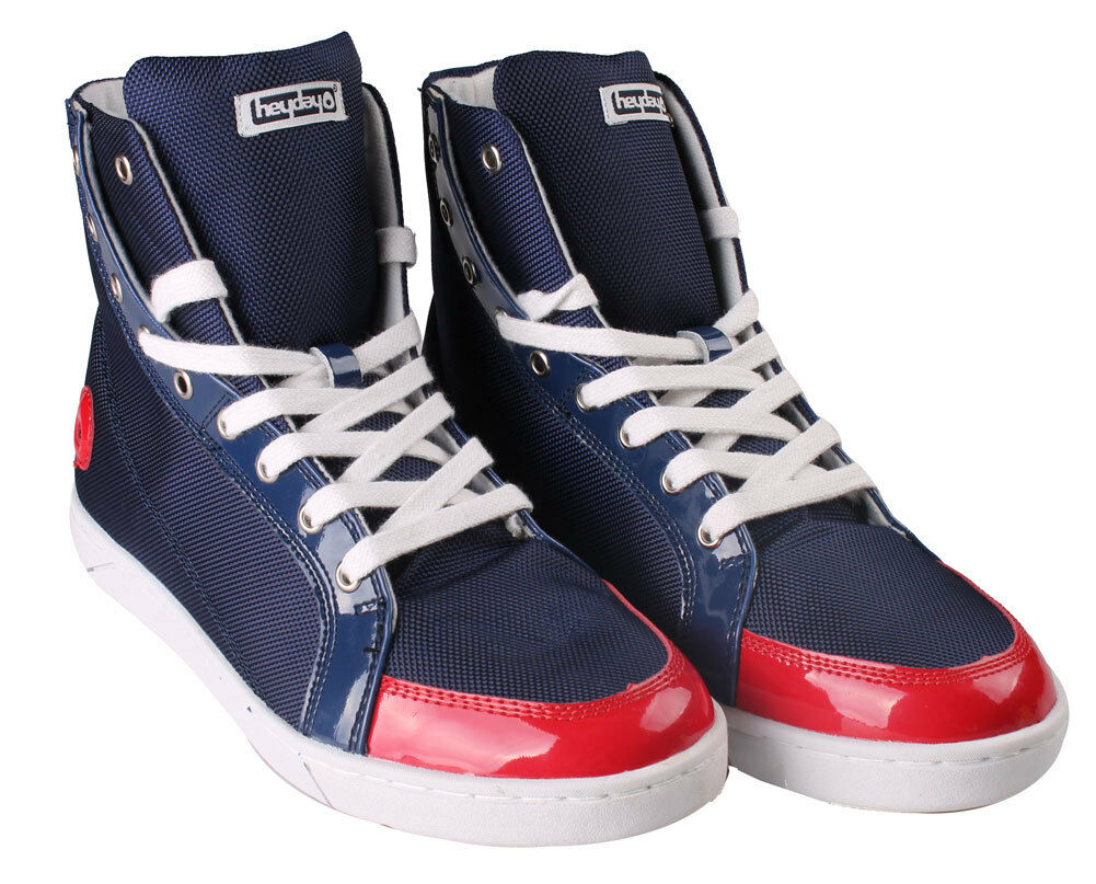 Heyday Shift Lite Core bluee Nylon Red Patent Leather Hi Top shoes 10US 43 NIB