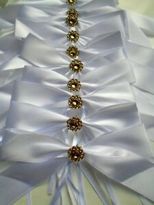 Noeuds-ruban-satin-blanc-dore-decoration-mariage-voiture-banc-eglise-lot-10pc