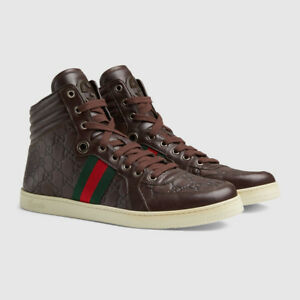 819427f34 Image is loading GUCCI-Mens-Sneakers-Designer-Shoes-Hi-Tops-Brown-