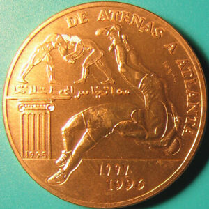 1996-SAHARAWI-100-PESETAS-ATLANTA-OLYMPICS-WRESTLERS-HEAVY-COPPER-30gr38mm-RARE