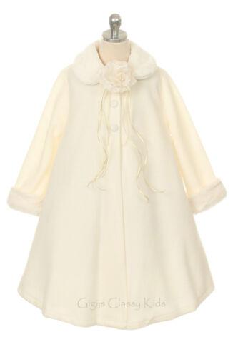 New Girls Red Fleece Coat Wedding Winter Christmas Baby Toddler Kids Fall Party