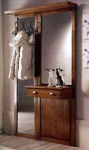 Ingresso parete in legno noce classico specchio appendiabiti cassetto t23 ebay - Parete a specchio per ingresso ...