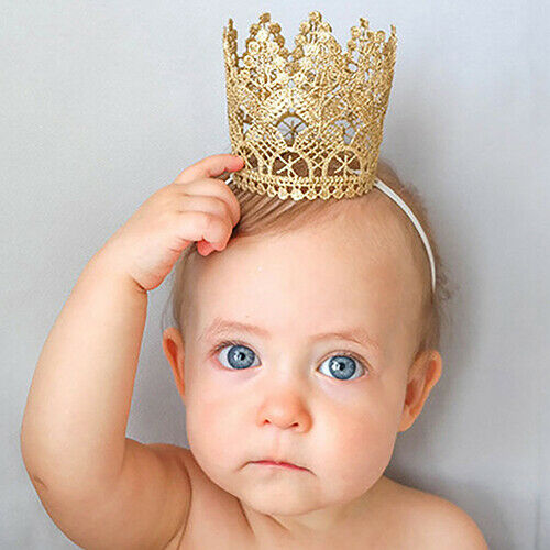 Newborn Baby Girls Infant Toddler Big Crown Headband Hair Band Headwear Tiara RR