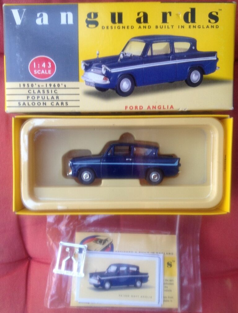 LLEDO VANGUARDS VA1000 FORD ANGLIA die cast model road car navy bluee 1 43rd
