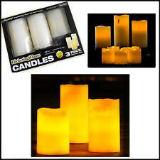 Large Flickering Candles Real Effect 3pcs LED Candles Battery-Operated Unscented