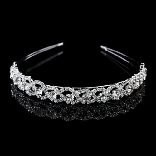 Crystal Rhinestone Wedding Bridal Diamante Tiara Headband Hair Band Clasp UK