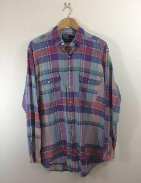Polo Check Shirt Plaid Large Vintage Ralph Lauren Madras Rq5c3j4ALS