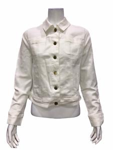 Isaac-Mizrahi-Women-039-s-TRUE-DENIM-Button-Front-Jean-Jacket-White-Size-10
