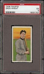 Very Rare 1909-11 T206 HOF Zack Wheat Tolstoi Back Brooklyn PSA 5 EX 1 Higher