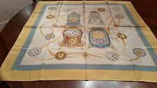 "Clocks from the Royal Residences Silk Scarf Reales Sitios de Espana 35"" NEW"