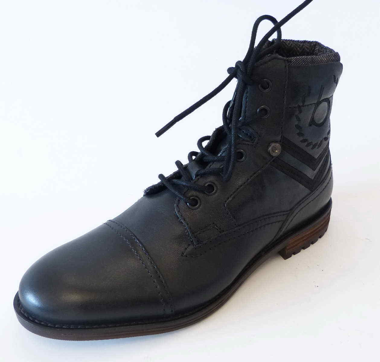 Bugatti Stiefel Cassio schwarz Reißverschluß Leder Schnür Profilsohle Stiefel