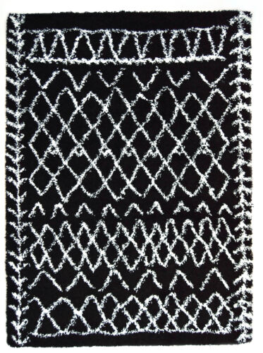 Modern Nomad Contemporary Shag Rug Tribal Black White Navajo 3x5 5x7 8x10 Rugs
