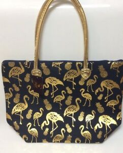Pineapples strandtas print Tote Goudkleurige Flamingos Ngil® 4jLR35A