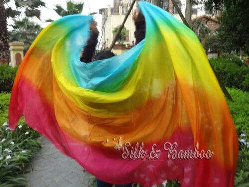 "9/'x45/"" rolled edges+bag 1pc 2.7m*1.1m 4-color 5 mommes belly dance silk veil"
