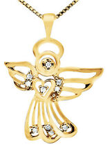10K Yellow Gold Outlined In-Flight Halo Angel Heart Pave Diamond Pendant 0.15ct