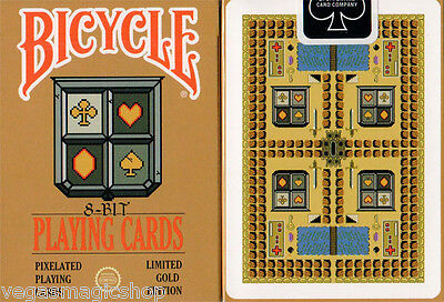 8-Bit Gold Deck Pixelated Bicycle Playing Cards Poker Size USPCC Limited Editon