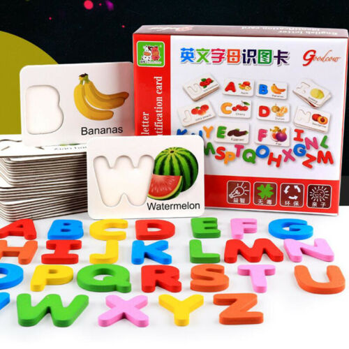 Wood Toys Fruits Vegetables English Alphabet Identification Blocks Cognitive Toy