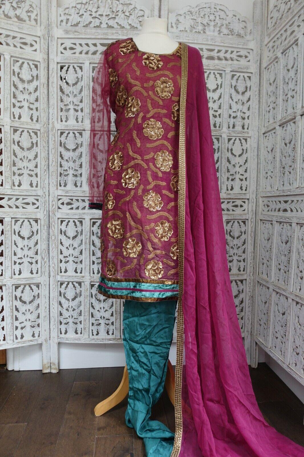 Plum & green shimmering churidaar pyjami suit Size UK 16 / EU 42 – SKU16319